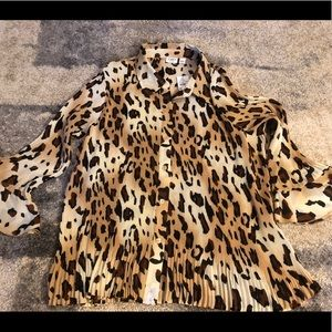 Leopard print long sleeve button down blouse